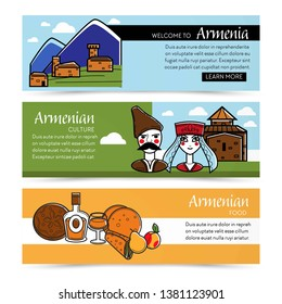 Nature and architecture Armenian culture and food web pages vector house in Caucasian mountains man and woman Armenia cuisine cognac and bread pita or lavash shawarma or roll pear and peach fruits