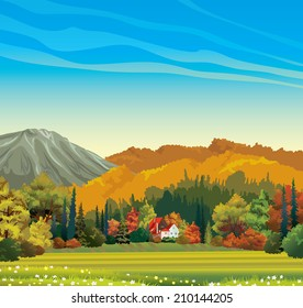 Nature autumn landscape - orange forest and house with red roof on a blue sky background.