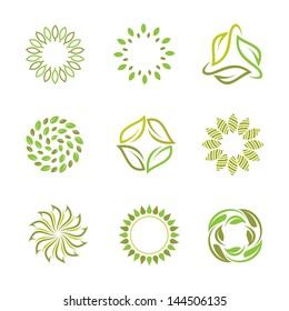 Nature in autumn logo and green spring icon set