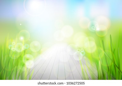 Nature background. Abstract wooden terrace in the garden. Vector illustration.