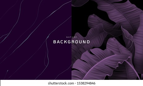 Nature background, banana leaves and marble ink texture in purple tone