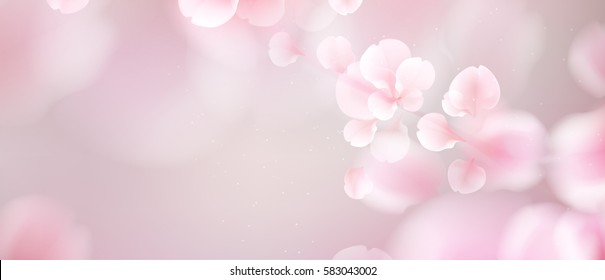 Nature background with blossom branch of pink sakura flowers. Vector template