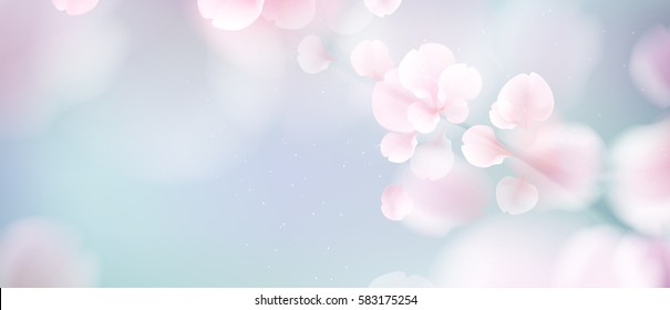 Nature background with blossom branch of pink sakura flowers. Vector template on blue sky