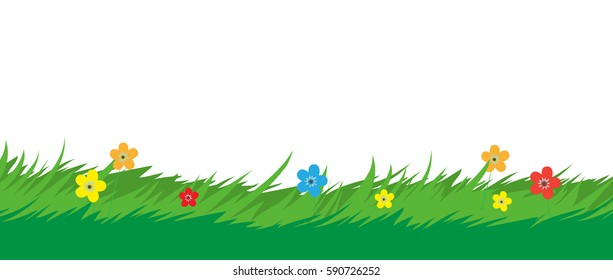 Nature background. Grass foliage and flowers plants. Park or garden elements. Vector illustration in flat style