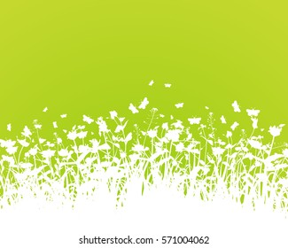 Nature background with grass silhouette vector