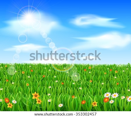 green grass blue sky flowers cloudy nature background with green grass and flowers blue sky background green grass flowers blue stock vector royalty