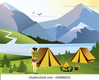 Nature background with hiking girl traveler, mountains, forest, river and hills. Tent and fire flat vector flat illustration.