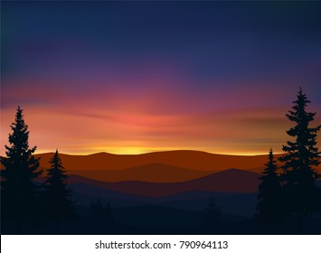 Nature background of mountains panorama. Colorful sunset. Northern lights.