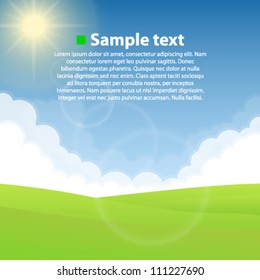 Nature background, Sky cloud cover, Green field, Vector illustration