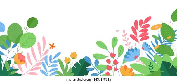 Nature background. Vector illustration floral concept for website banner, presentation template, cover and card design, marketing material.