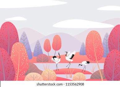 Nature background with wetland landscape  and dancing Japanese cranes. Autumn scene  with mountains, clouds,  red trees and birds.  Vector flat naive illustration.