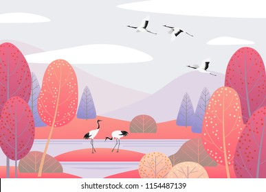 Nature background with wetland landscape and japanese cranes. Autumn scene with simple plants, trees, mountains, clouds and birds.  Vector flat illustration.