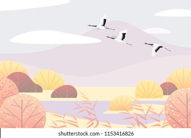 Nature background with wetland scene and flying Japanese cranes. Autumn landscape with mountains, autumn trees, reed and birds.  Vector flat naive illustration.