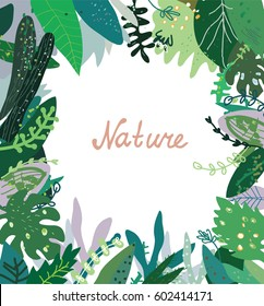 Nature background with wild plants - frame design, vector graphic illustration