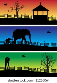 Nature banners, animals, peoples, vector illustration