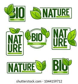Nature and Bio Product, doodle organic leaves emblems, stickers,  frames and logo