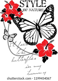 nature butterfly,for t-shirt,slogan
