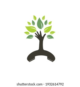 Nature call vector logo design. Handset and hand tree icon design template.