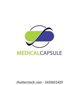 Nature Capsule logo modern, Medical logo, pills, capsule, health care symbols
