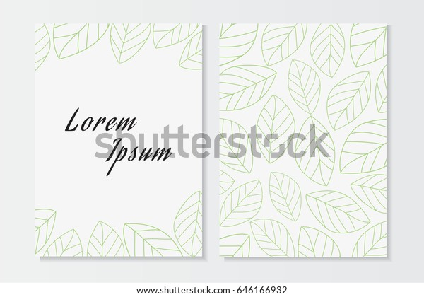 Nature Card Template Leaf Patternsimple Leaf Stock Vector