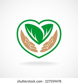 Nature care logo. Grown with love sign.