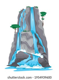 Nature cartoon object of waterfall falling from top of mountain isolated on white background vector illustration