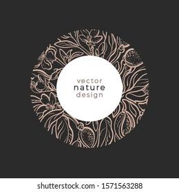Nature in circle. Vector floral design. Organic plant of almond, nut, flower, leaves. Art line golden frame. Hand drawn sketch illustration on black background. Bio logo, symbol