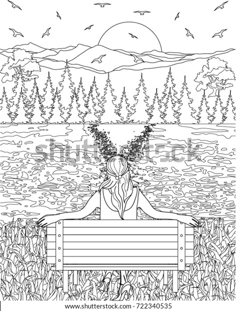 Nature Coloring Book Page Stock Vector (Royalty Free) 722340535