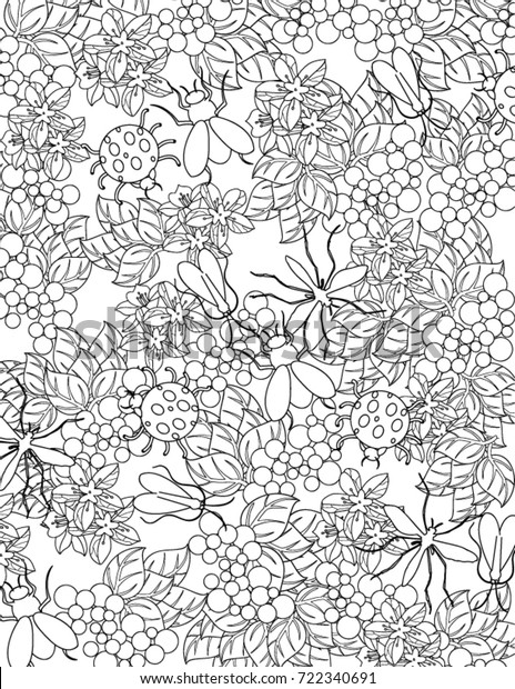 Nature Coloring Book Page Stock Vector (Royalty Free) 722340691