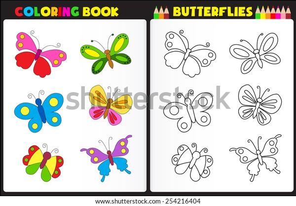 Nature Coloring Book Page Preschool Children Stock Vector Royalty