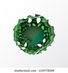 Nature concept with paper cut green leaf and forest silhouette landscape abstract background.Paper art style vector illustration.