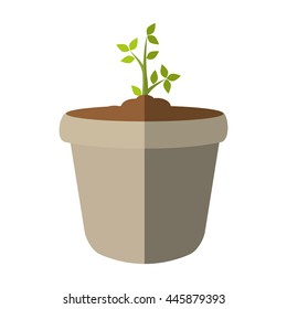 Nature concept represented by green plant and pot icon. isolated and flat illustration