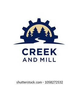 Nature, Creek and Gear Mill logo design inspiration