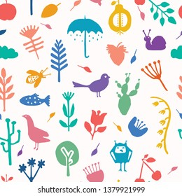 Nature cut out shapes. Vector pattern seamless background. Hand paper cutting animals,plants matisse style. Collage graphic illustration. Trendy home decor, kid fashion print. Bird, fish, duck, snail.
