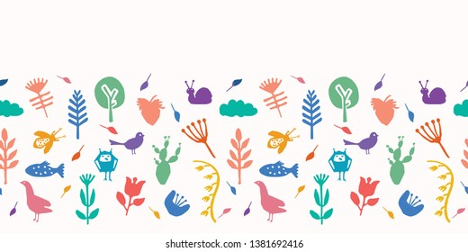 Nature cut out shapes. Vector border pattern seamless background. Hand paper cutting animals, plants matisse style. Collage ribbon trim edging. Trendy home decor, kid fashion. Bird, fish, duck, snail