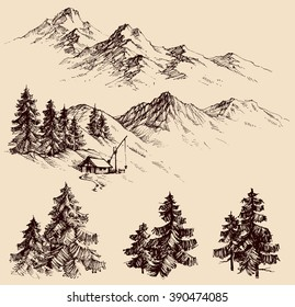 Nature design elements, mountains and pine trees set