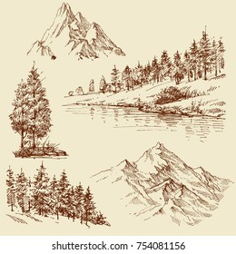 Nature design elements. Mountains, trees and forest set