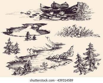 Nature design elements set. Boats on water, river, lake, flowers and trees