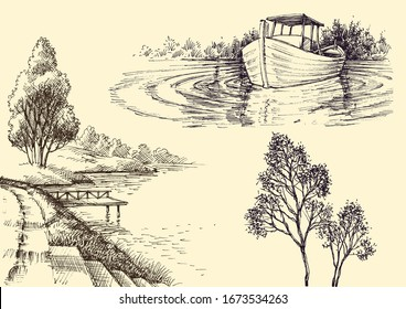 Nature design elements set. Plants and trees decorations, boat on water, lake or river shore