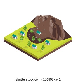 Nature Disaster Concept 3d Isometric View Include of Landslide. Vector illustration