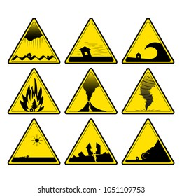 Nature disaster warning signs. Vector image.