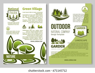Nature ecology design and green eco planting poster for national park horticulture and gardening or planting. Vector design template of outdoor green gardens and squares or forest trees and woodlands