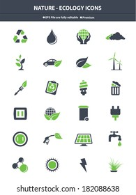 Nature & Ecology icons,Green & Gray version,vector