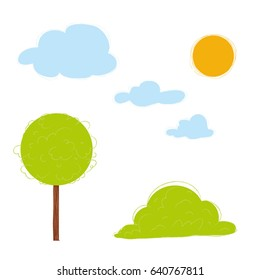 Nature elements set vector