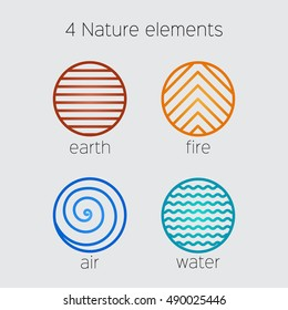 Nature Elements Vector Icons. Vector logo template.  Fire, air,  earth and water.