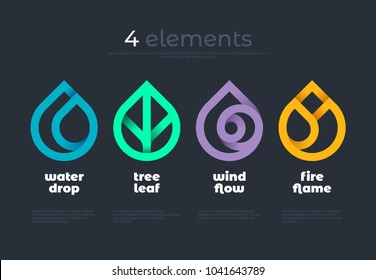 Nature elements. Water, Fire, Earth, Air. Gradient elements on dark background. Nature logo. Alternative energy sources. Fire Water Air Earth line logo. Eco logo.