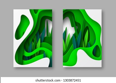 Nature and environment conceptual posters, papercraft layered art. Shapes with shadow and leaves in different green tones. Ecology, spring or summer time cards. Vector illustration.