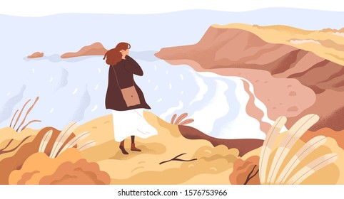 Nature exploration flat vector illustration. Dreamy woman enjoying scenic landscape. New horizons discovery concept. Girl at river coast cartoon character. Outdoor activity, autumn walk.