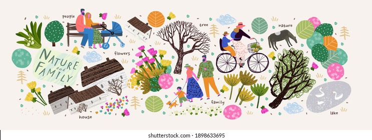 Nature, family and people. Vector illustration of a house, lake, village, tree and flowers. Drawings and objects for poster, background or pattern - Shutterstock ID 1898633695