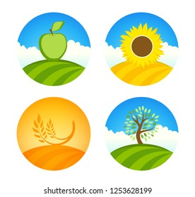 Nature farm vector emblem. Logotypes with apple, sunflower and wheat farm harvest on colorful round illustration isolated on white.